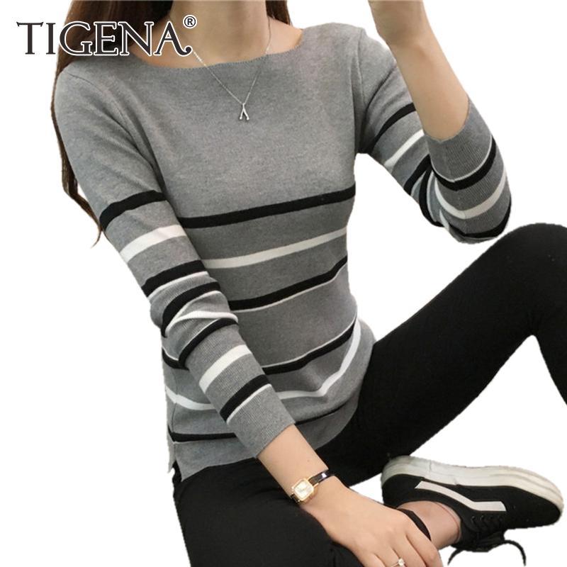 7d838439af69 Acheter Tigena 2018 Hiver Femmes Chandail Et Pull À Manches Longues Rayé  Jumper Femmes Noir Blanc Chandail Tricoté Femelle Top Pull Femme De  37.87  Du ...