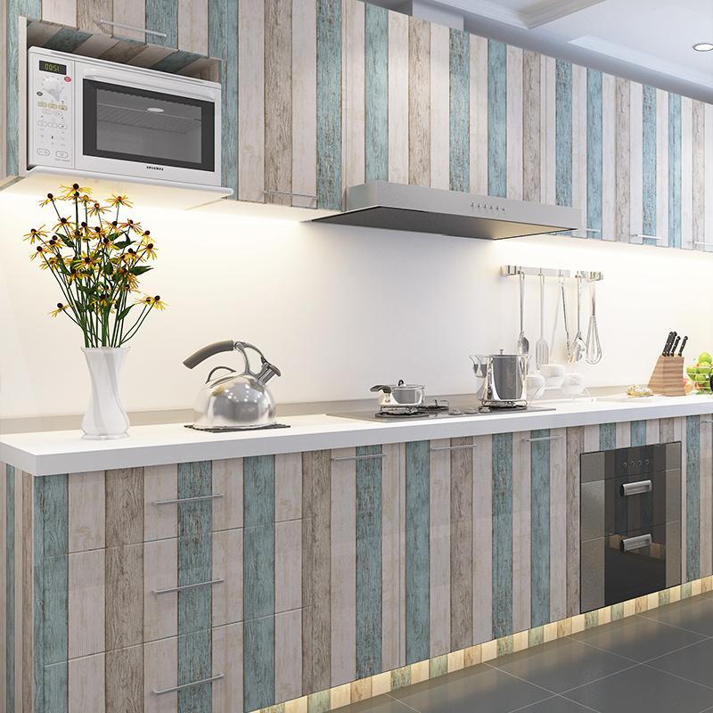 Tapeten YOUMAN selbstklebende PVC Vinyl Tapeten Vintage Streifen Holz  Tapeten Küche Wohnzimmer DIY Dekor Startseite 3D Wand