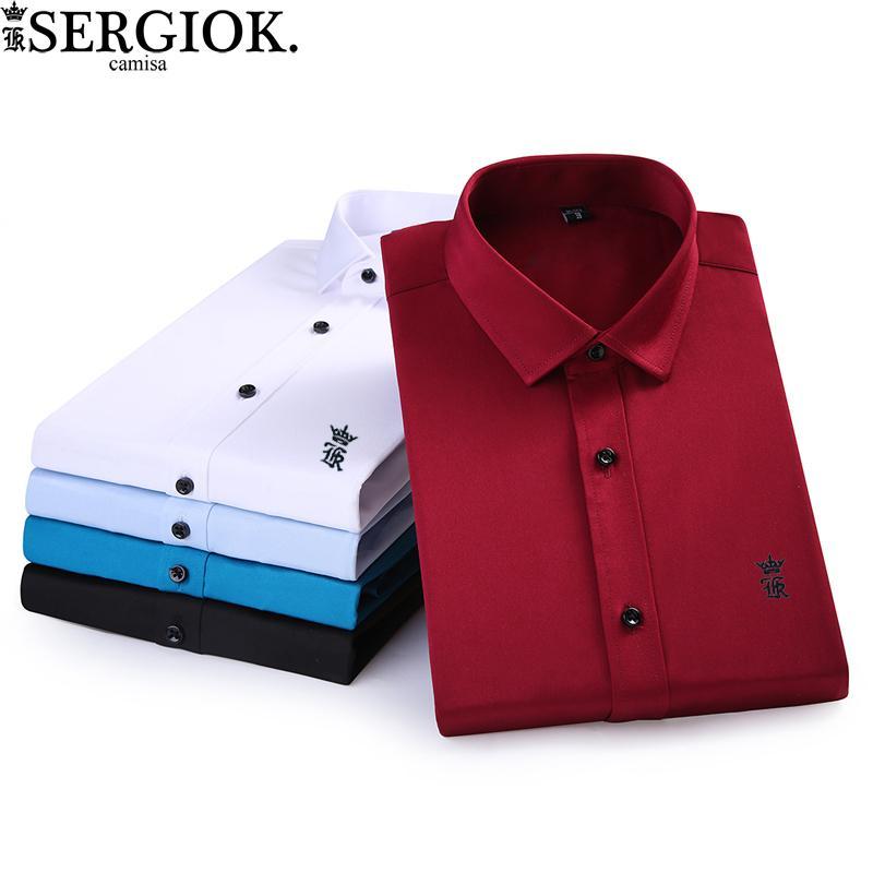 5a42f4088 Compre Camisa Dos Homens Dudalina Camisa De Manga Longa Dos Homens Sergio K  Camisa Brasil Masculino Social Camiseta Casual Business Blusas Clothing De  ...