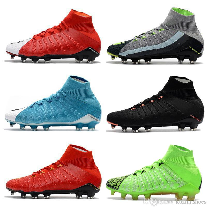 Mens High Ankle FG Motion Blur Soccer Cleats Hypervenom Phantom III ... b08ac239e6