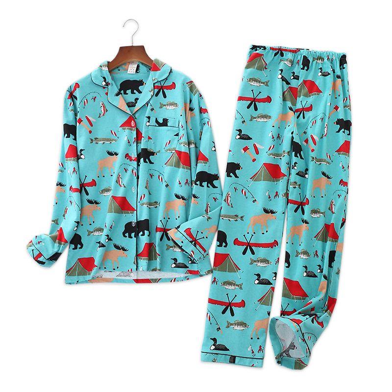 8c919a202694 2019 Cute Cartoon 100% Cotton Pajamas Sets For Women Winter Sale Long  Sleeve Ladies Homewear Brushed Cotton Casual Pyjamas Women D18110502 From  Shen8403