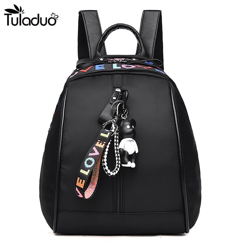 033192f543 Women Silt Pocket Waterproof Backpacks Ribbon School Bags With Mini Bear  For Teenagers Casual Travel Computer Laptop Bag Waterproof Backpack Kids  Backpacks ...