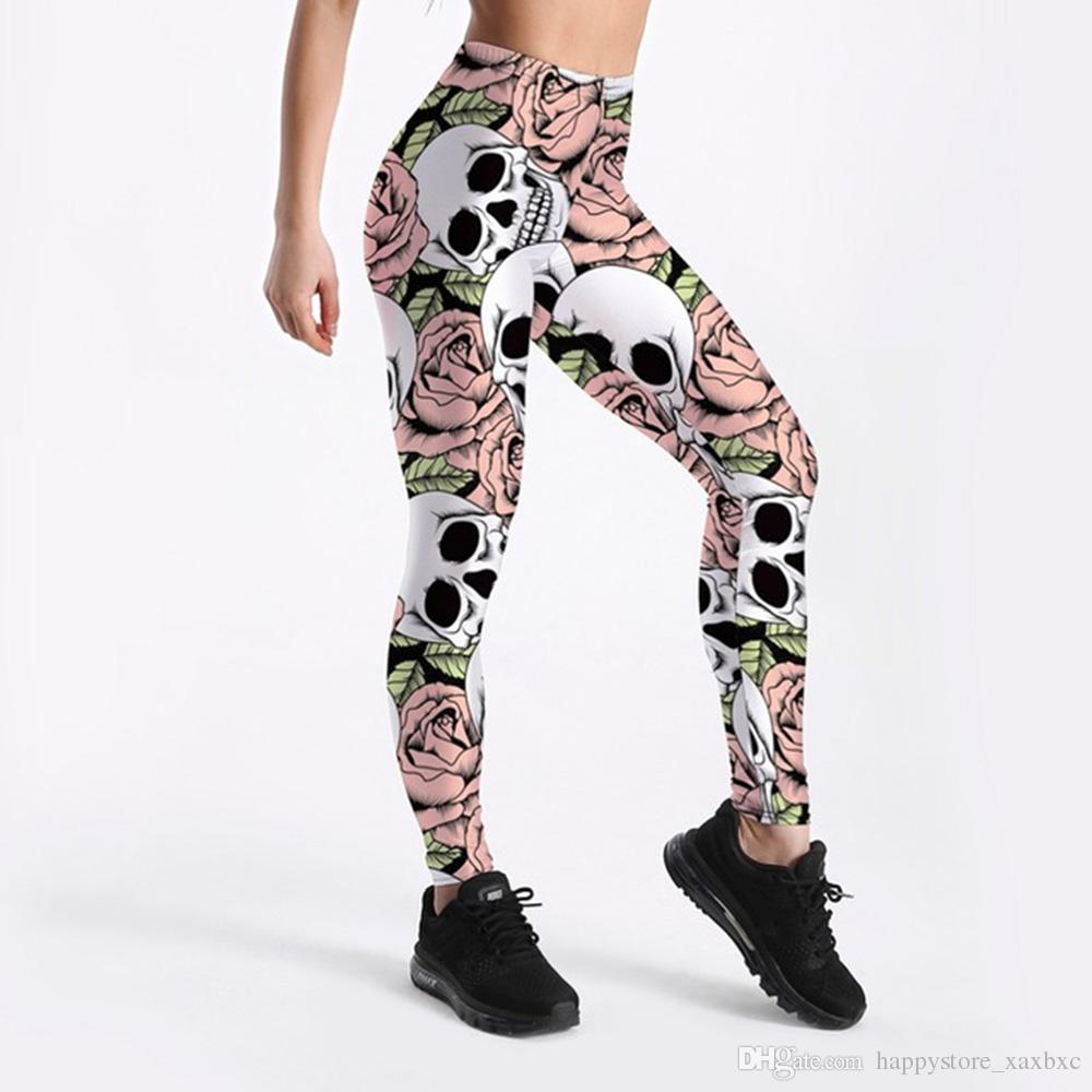 dda45e2f02 2018 Summer 3367 New Skull Pink Rose Halloween Printed Sexy Femme Sport  Yoga Pants GYM Fitness Workout Polyester Women Leggings Plus Size