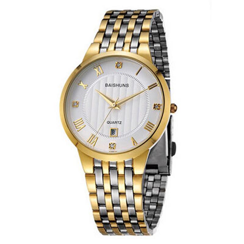 13beda6e733 Compre Novos Mens Relógios De Quartzo De Luxo Relógio De Ouro Homens De  Negócios De Moda De Aço Inoxidável Assista Relógios Ultra Fino Para Homens  Preço ...