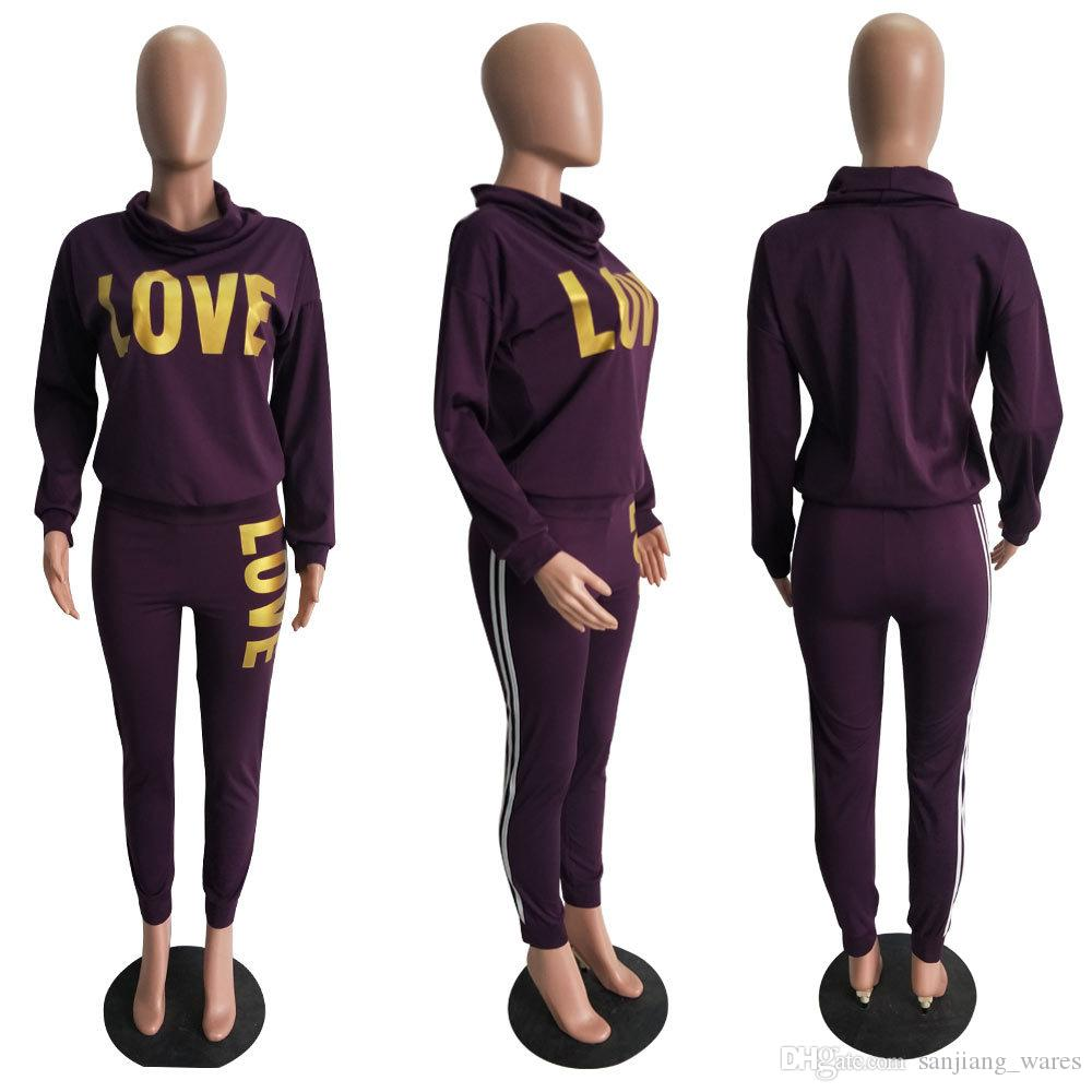 6408ae7af57fb3 2019 Women Love Sweat Suits Female Hoodie Set Loose Long Secret Pant Suit  Casual Letter Print Tracksuits Lady Leggings High Turtle Workout Outfit  From ...