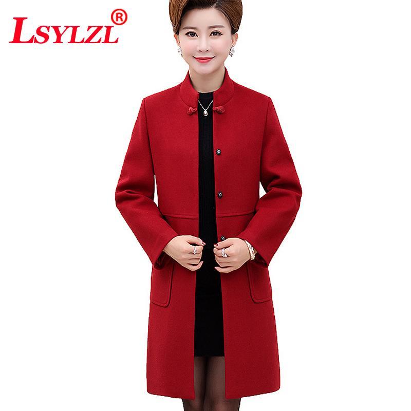 b015add4529 2019 Women Wool Coat 2019 Chinese Style Jacket Wide Waisted Winter Jacket  Vintage Cashmere Coat Plus Size XL 5XL C333 From Yukime
