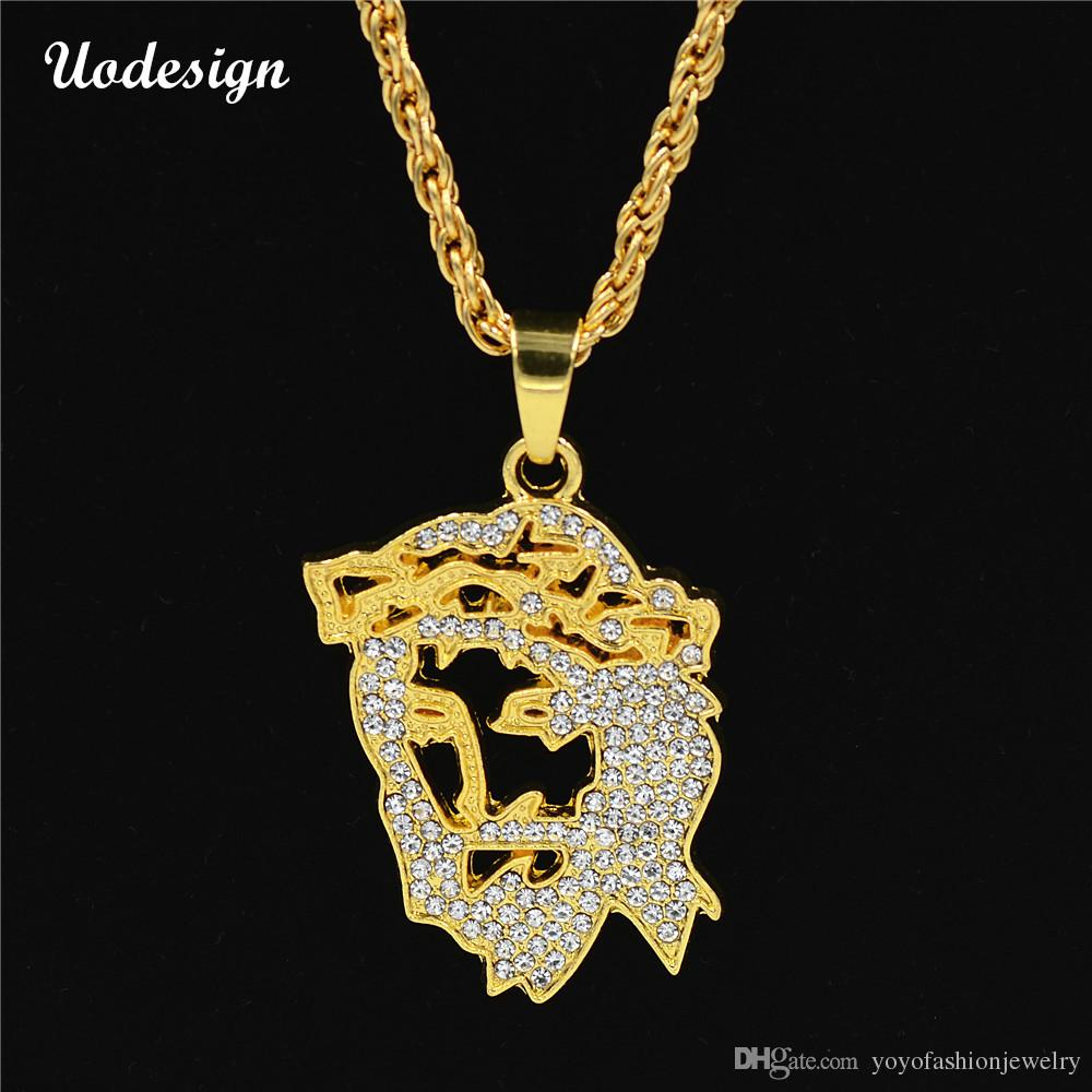 Wholesale Uodesign New Hip Hop Gold Color Masked Jesus Face Pendant ...