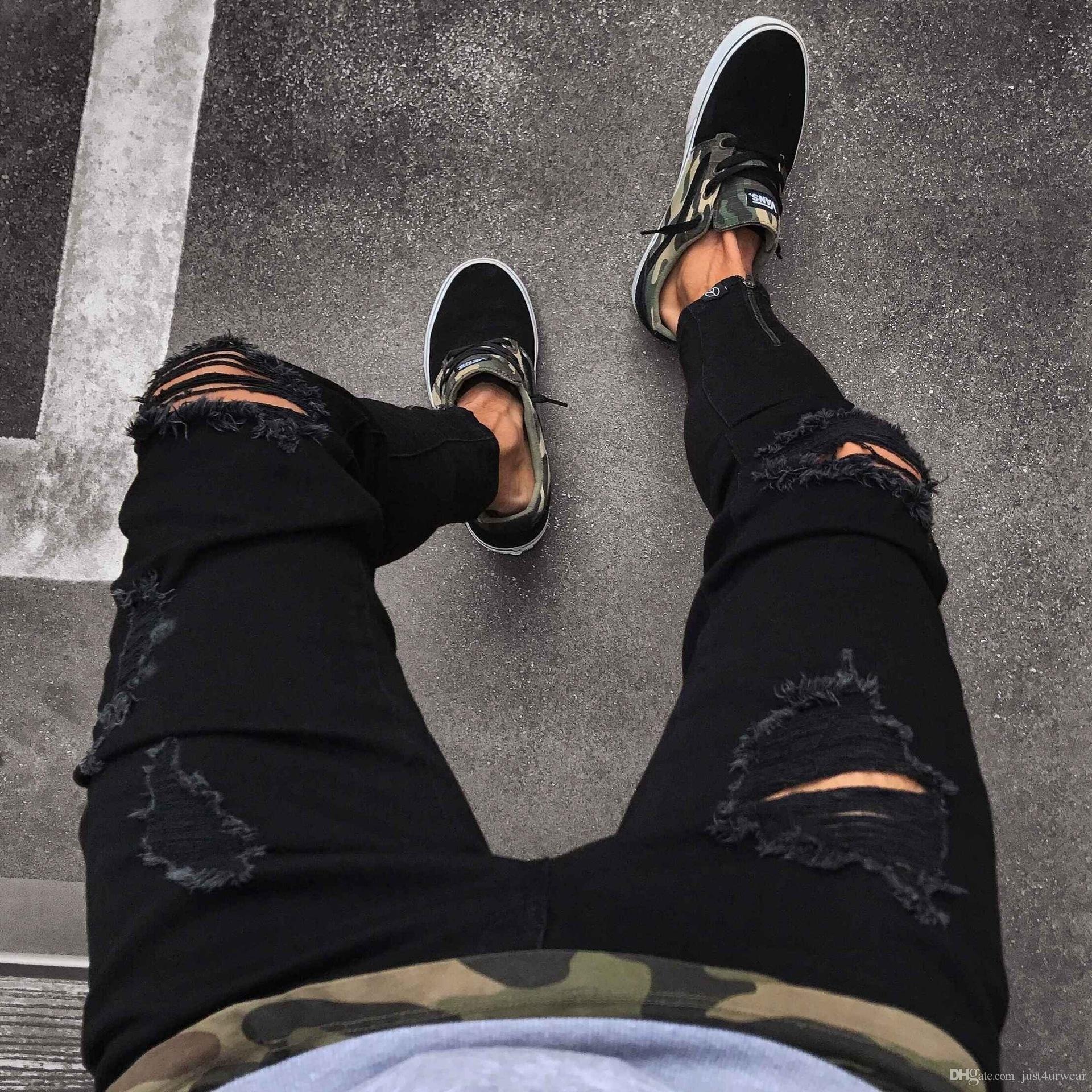 Pantalons noirs pour hommes Hip Hop Rock Trous Jeans déchirés Biker Slim Fit Zipper Jean Pantalon en détresse