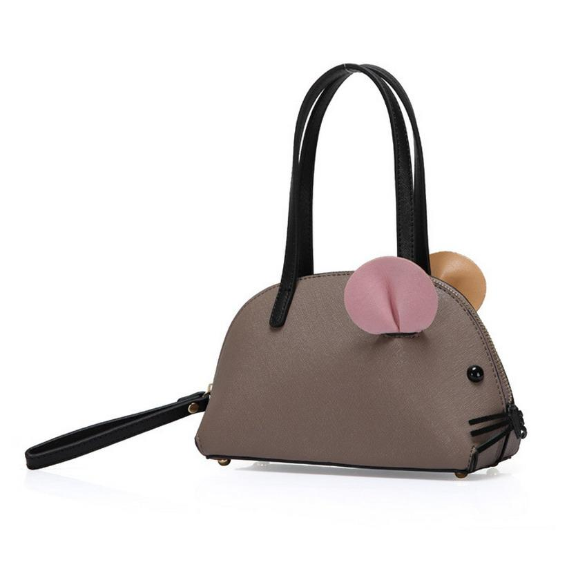 Korean Style Mini Small Mouse Solid Color Leather Top-handle Handbags Women Shell Bags Ladies Girls Clutches Bags Bolsa