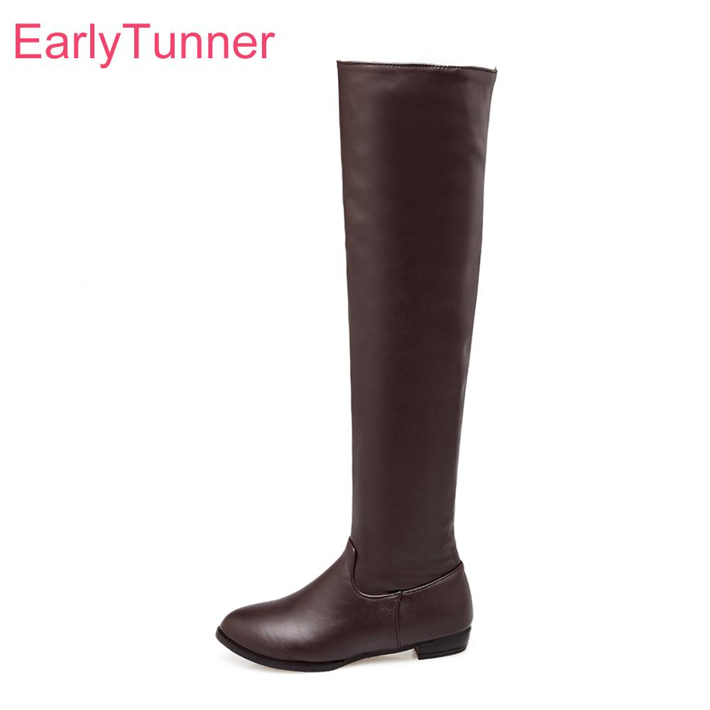 bd6c5f33830 Brand New Winter Sales Sexy Women Thigh High Boots Black Brown Beige Vogue  Lady Nude Shoes Low Heel ECT18 Plus Big Size 10 45 43 Slipper Boots Ankle  Booties ...