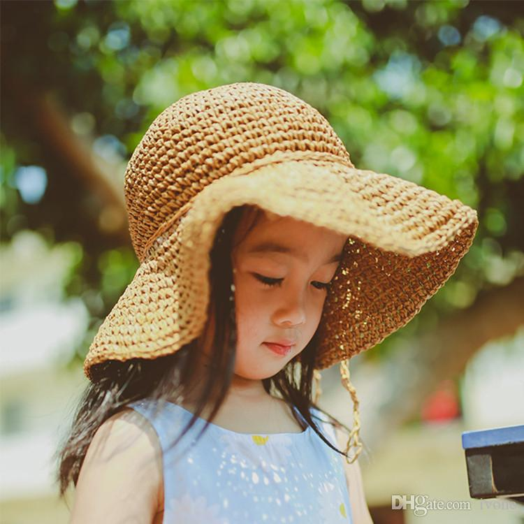 2019 Children Straw Hat Girl Sun Shading Cap Tide Baby Beach Sun Hat  Children Baby Cool Hat D1015 From Ivone 901cbfe400f0