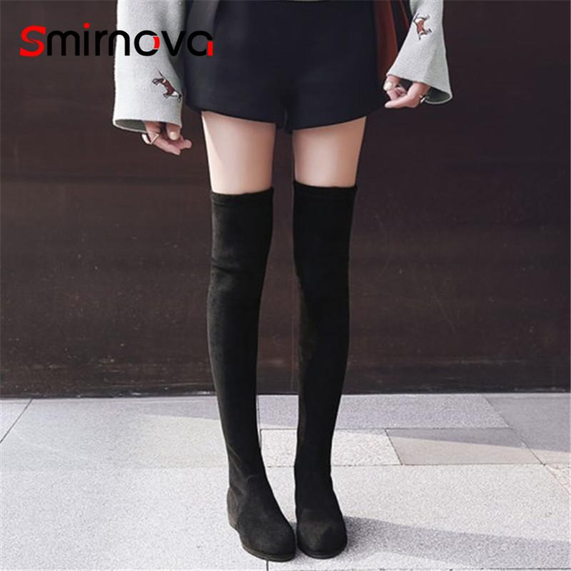 Smirnova NEW Arrive 2018 Casual Low Heel Thigh High Boots Woman Pointed Toe  Long Boots Ladies Warm Over The Knee Winter Chelsea Boot Mens Chelsea Boots  From ... 98774990a