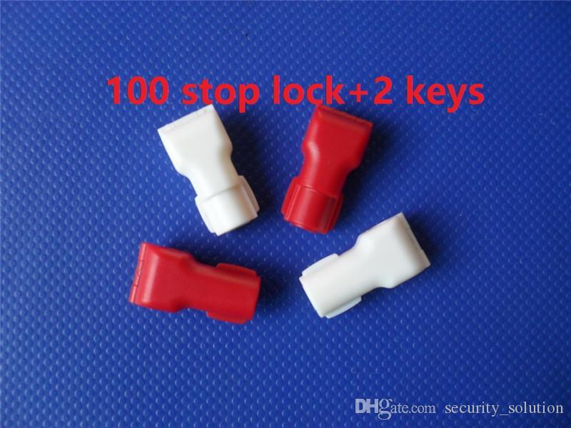 102 piezas al por mayor de plástico EAS Security Stop Lock Retail Shop Display Hook Anti Theft Stoplock + 2 llaves