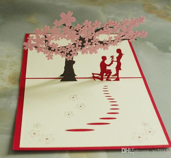 3D Laser Sakura Lover Vintage Handmade Custom Greeting Cards Christmas Gifts Souvenirs Postcards With Envelope W7578 Card Designs For