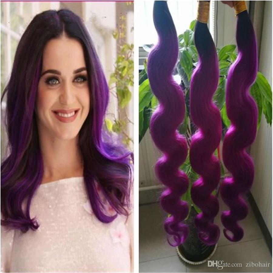 Brazilian Human Hair Purple Ombre Hair Bundles Malaysian Indian