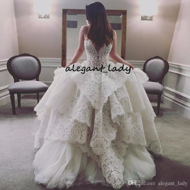 Luxury Lace Applique Princess Wedding Dresses 2019 Retro Vintage Lace-up Corset Sweetheart Puffy Skirt Royal Dubai Arabic Wedding Gown