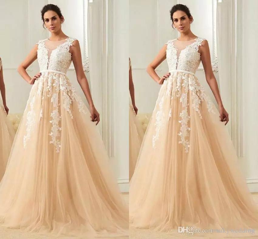9708a608b8 Newest Robe Prom Dress Champagne A Line Sheer Jewel Evening Dresses Backless  Deep V Neck Tulle Lace Appliques Party Gowns Sweep Train Modest Prom Dresses  ...