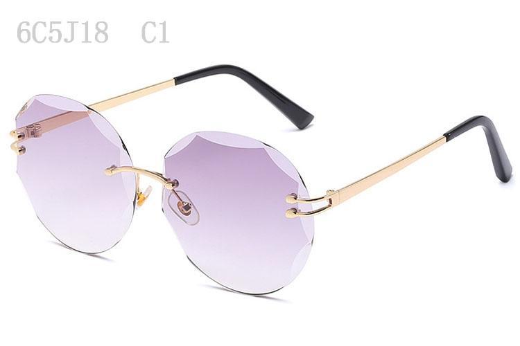 Gafas de sol para mujer Moda Sunglases Gafas de sol para mujer de gran tamaño 2018 Gafas de sol de lujo para mujer Gafas de sol sin montura de diseñador 6C5J18