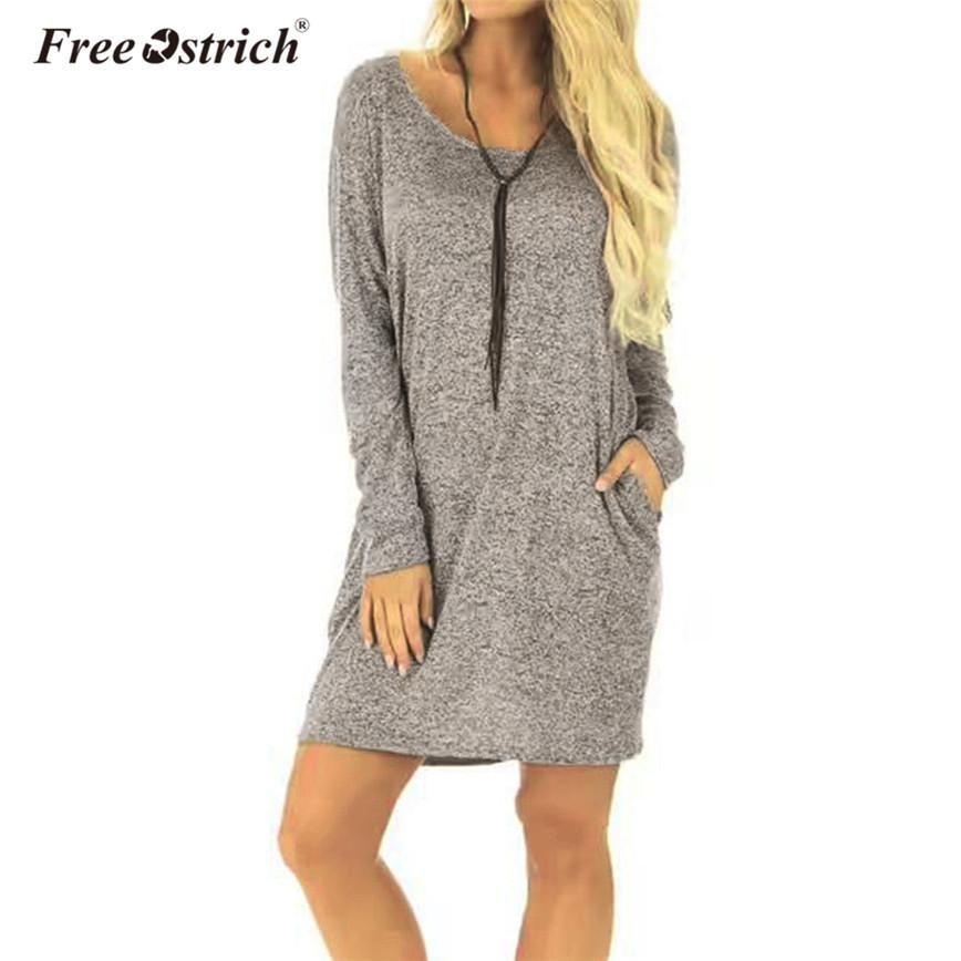 Free Ostrich Spring Knitted Sweater Dress Women Long Sleeve Pockets