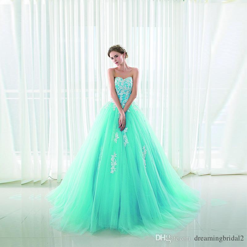 Discount Cheap Light Sky Blue Ball Gown Wedding Dress 2017 New ...
