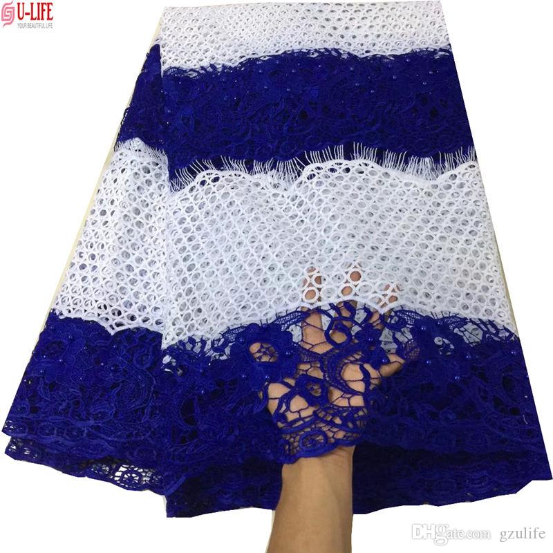 ulifelace Guipure lace fabric 2018 African cord lace fabric high quality Nigerian water soluble Color Beads Lace for clothes W2-606