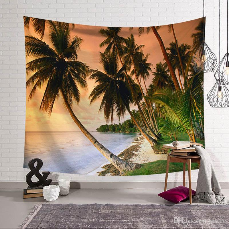 Palm Trees Tapestry Quote Hippie Blanket Home Textile Wall Hanging