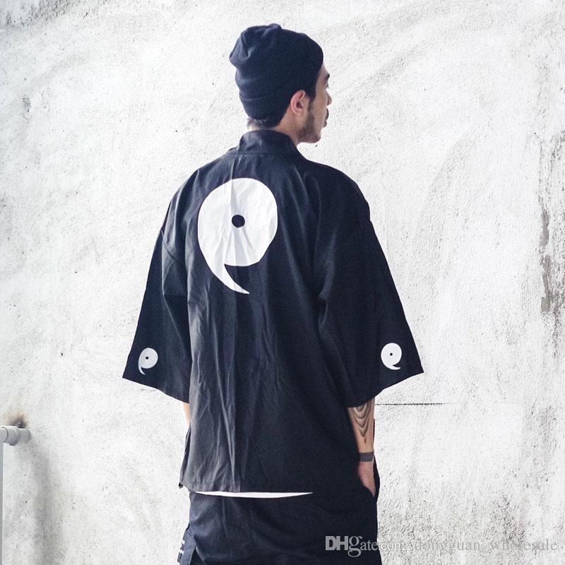 Acheter Japonais Kimono Vestes Streetwear 2018 Japon Style Casual Imprimé Mince  Manteaux Hommes Harajuku Ouvert Point Outwear Veste De  21.92 Du ... 7224dbd162d3