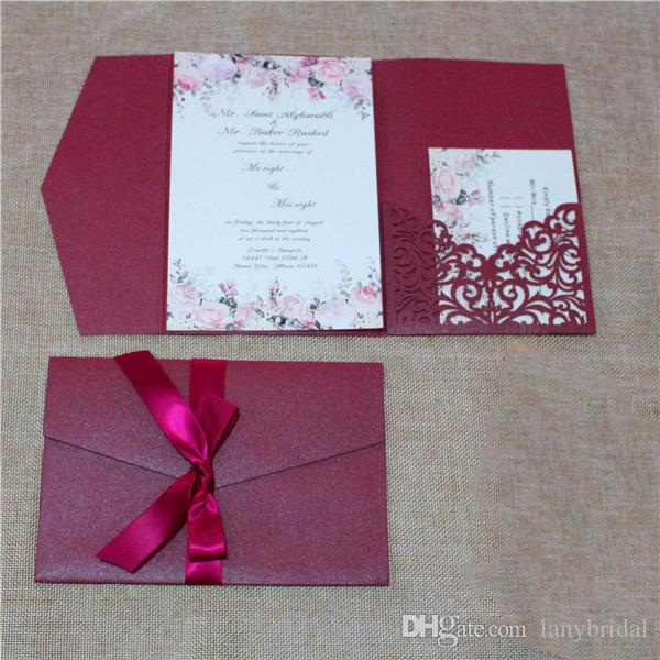 Dark Red 2018 Laser Cut Invitations Cards With Rsvp Cards White