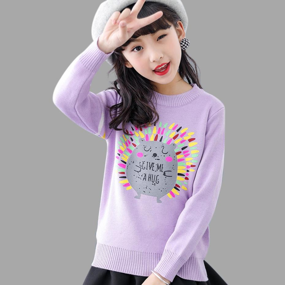 Teenage Sweater Girls Teenage Cartoon Children Knitted Clothes Long