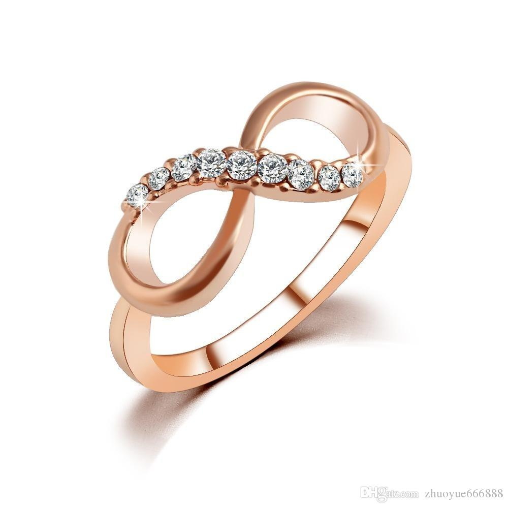2018 Classics Alloy Rose Gold Plated Bridal Wedding Number 8 Jewelry