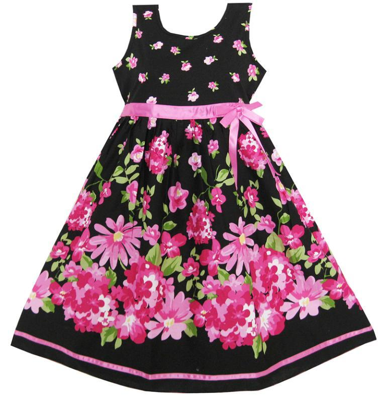 Sunny Fashion Girls Dress Hot Pink Flower Belt Party Christmas Gift Kids Cotton 2016 Summer Princess Wedding Dresses Size 4-12