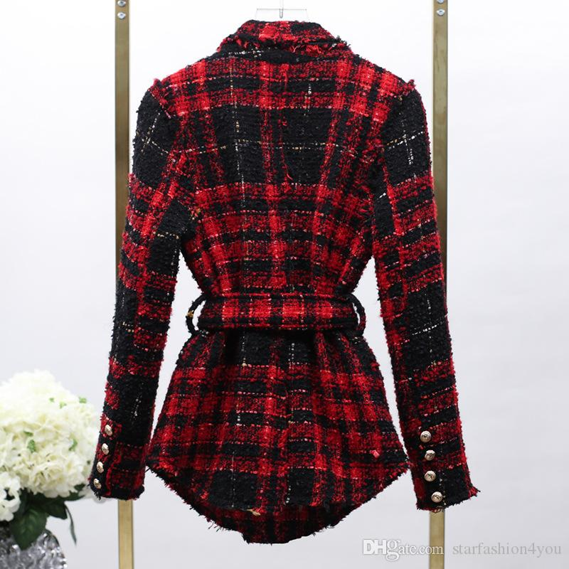 New With Label Brand B Top Quality Original Design Women's Ladies Double-Breasted Plaid Jacket Metal Buckle Sash Blazer Waistband Outwear