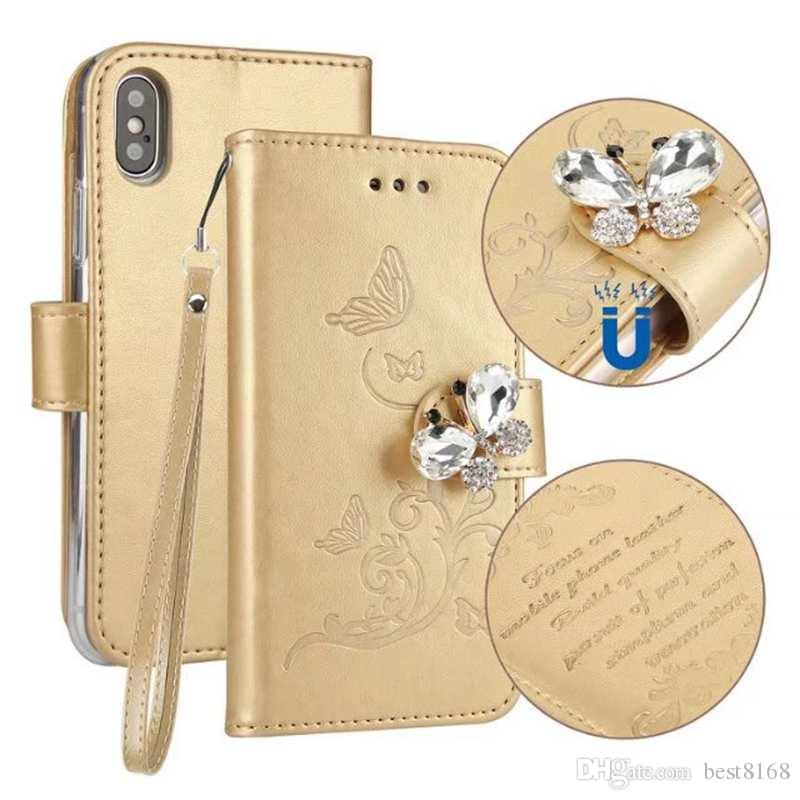 Bling Diamond Leather Wallet Case For Iphone X 8 7 6 6S Plus Magnetic Butterfly Frame ID Card Slot Cover ROSE GOLD Skins Flip Pouch Strap