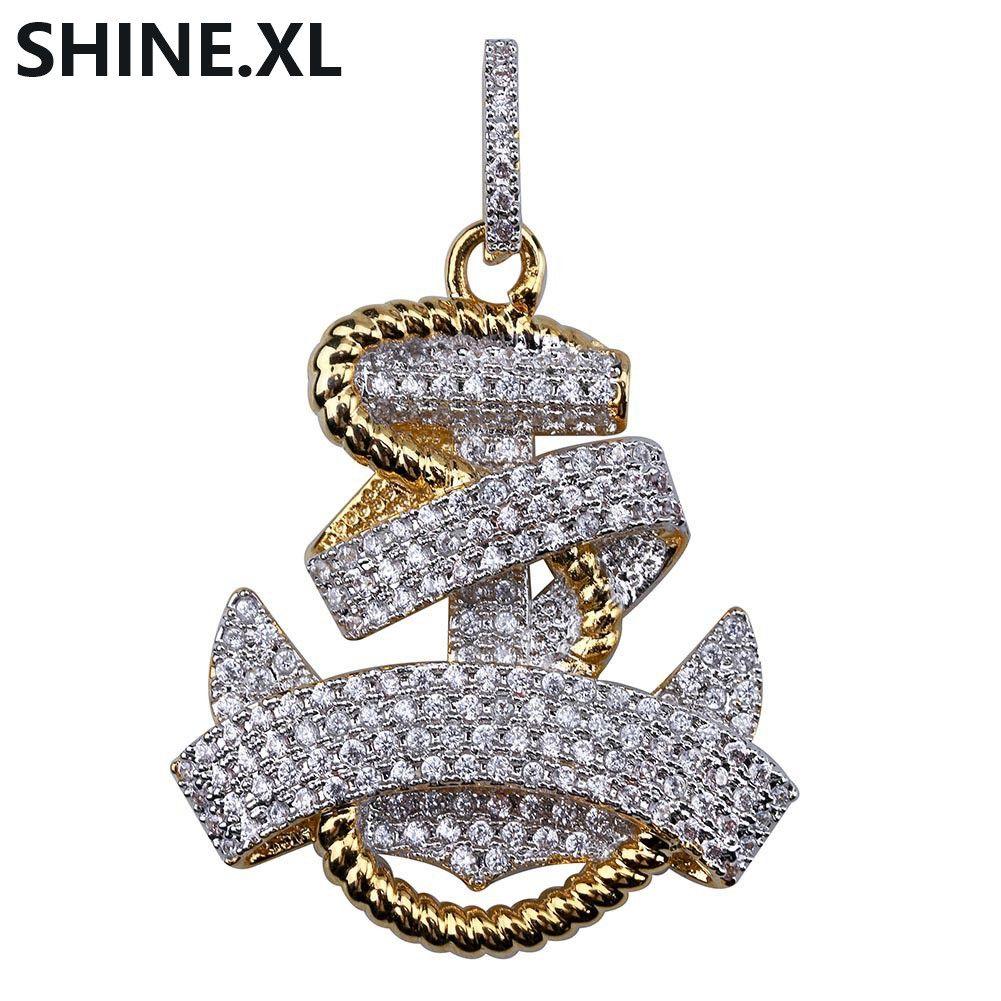 Collana da uomo Hip Hop color oro placcato pendenti di ancoraggio in rame pendenti con collane gioielli moda donna all'ingrosso