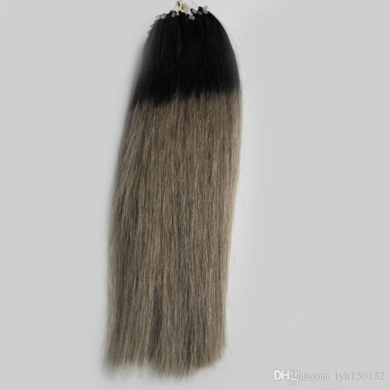 100g Ash Blonde Hair Extensions 1bgray Silver Ombre Micro Human