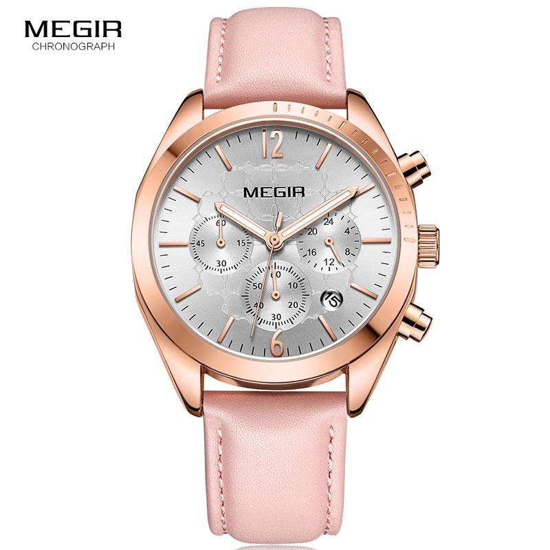 efea25ae209 Megir Women S Leather Quartz Watches Chronograph Clock 24 Hours Waterproof  Wristwatch For Lady Girl Relogios Femininos 2115 Pink Watchs Sport Watches  From ...