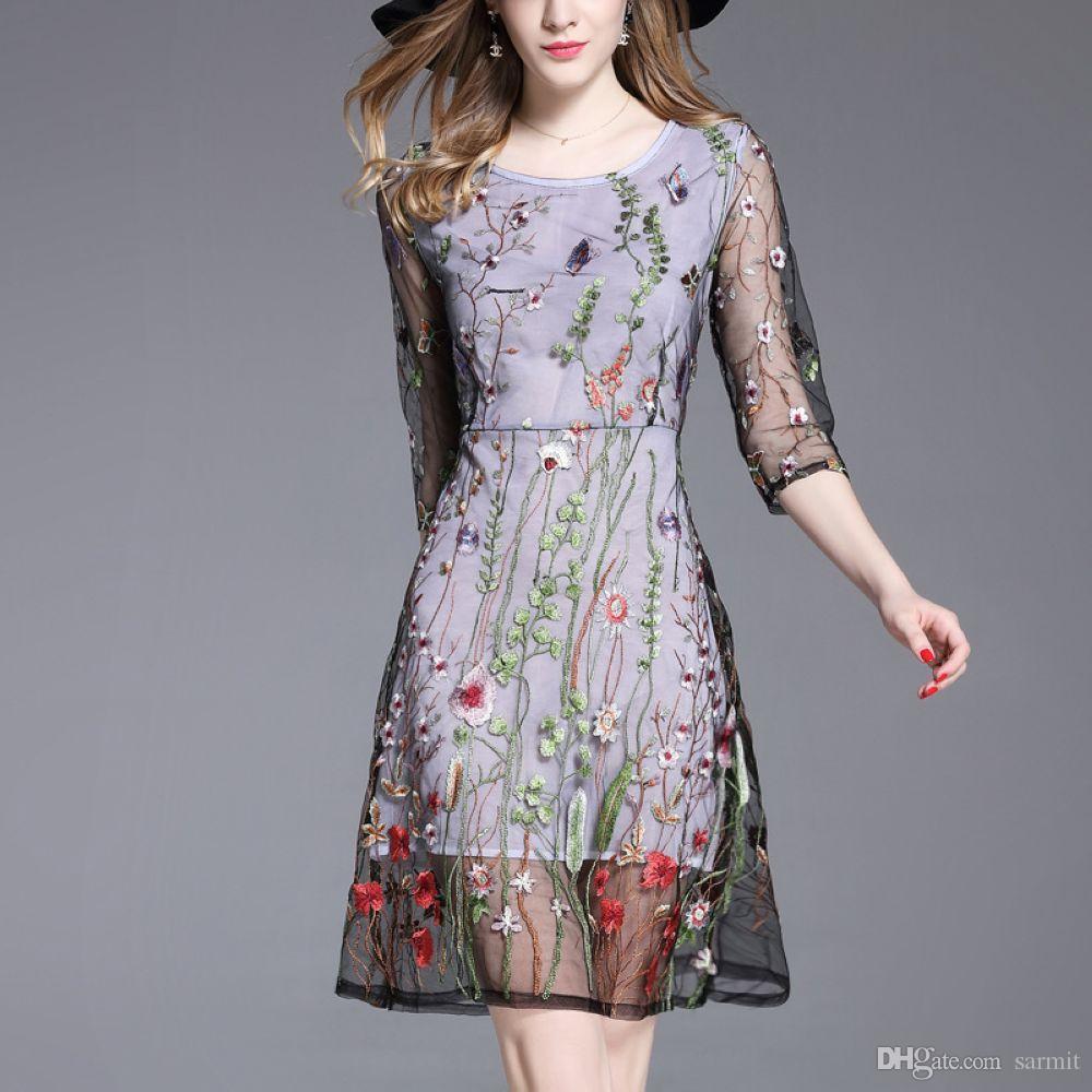 76f25b761f6be Compre Elegante Vestido De Encaje Estilo Calle Bordado Vestido De Fiesta De  Lujo De Alta Calidad CAF474 S 2XL Manga 1 2 A  32.17 Del Sarmit