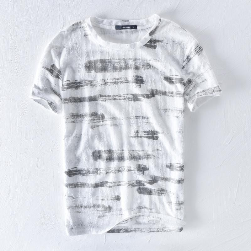 ff6b39d1d3a Fashion Linen T Shirt Men 2018 New Summer Striped Short Sleeve Tops 100%  Cotton Flax Comfortable Soft Breathable Tees Asian Size Funky T Shirts Cool T  Shirt ...