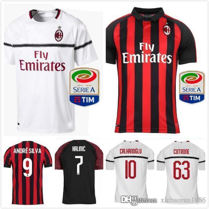 best cheap 9525f 6330d 1718 AC Milan Away White Soccer Jersey Shirt Serie A t