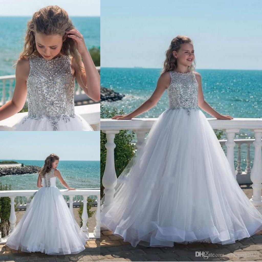 6d01ecdc4 2018 Beaded Crystal Ball Gown Girl's Pageant Dresses Jewel Sleeveless Tulle  Floor Length Beach Kids Formal Wear Fashion Flower Girl Dresses