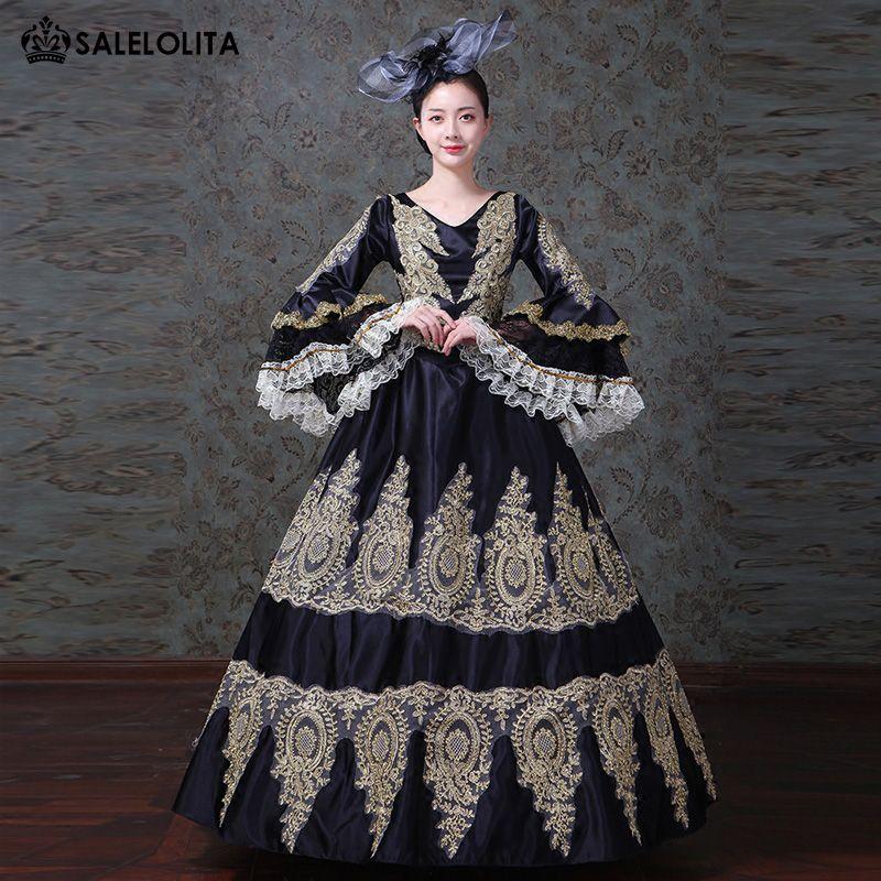 2018 Black Embroidery Marie Antoinette Dress Renaissance Southern