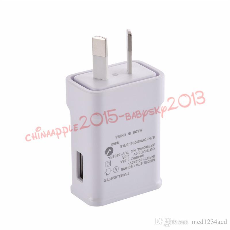 cargador de la pared del hogar 5V 2A AU del USB de alimentación de CA para la nota 2 3 4 5 8 9 10 S8 S9 S10 HTC LG del teléfono androide