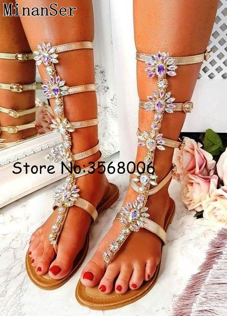 4880ba430940 Shinny Bohemia Style Flat Clip Toe Sandals Summer Crystal Long Boots Woman  Shoes Rhinestone Knee High Gladiator Sandals Boots Rain Boots Mens Shoes  From ...