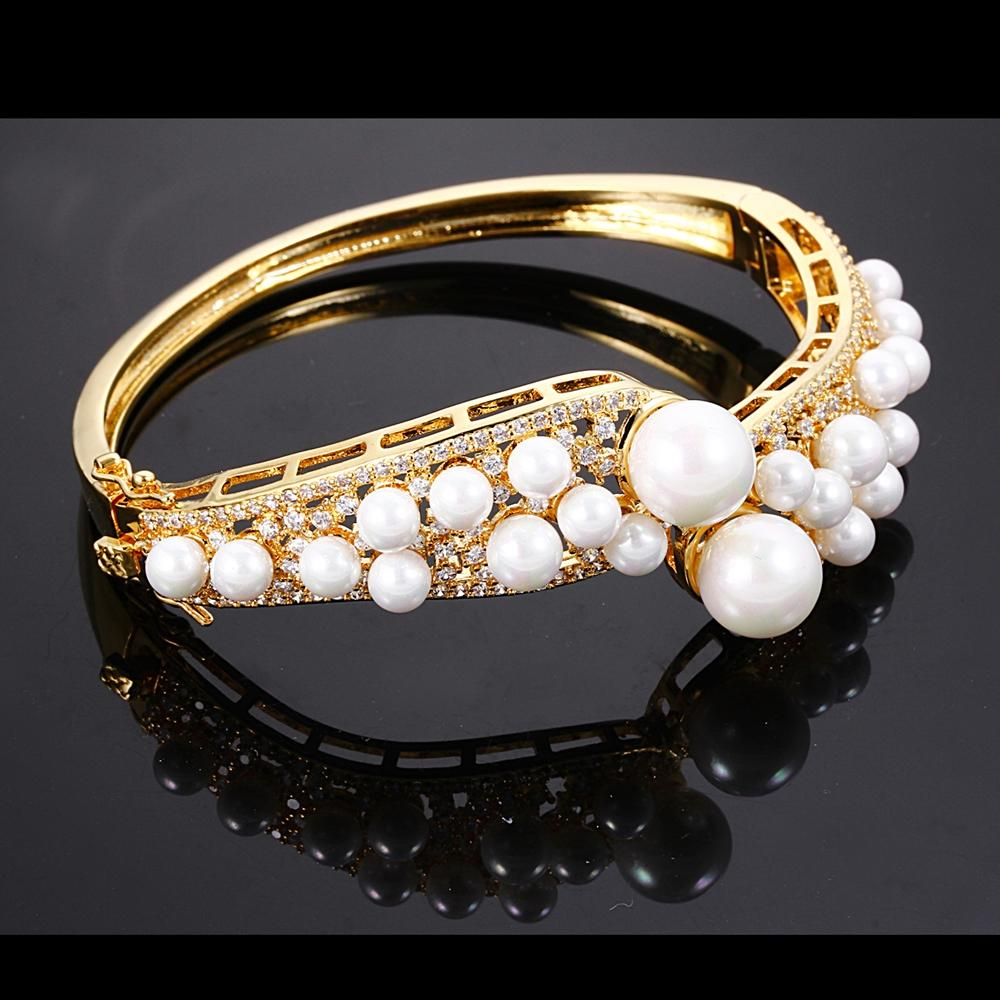 Dreamcarnival1989 Created Pearls Bangle For Women Bridal Wedding CZ Paved Rhodium Gold Color Pulseras Mujer Bracelets