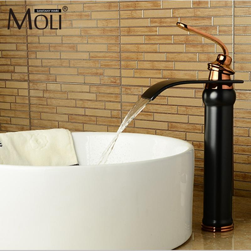 2018 Waterfall Basin Faucet Bathroom Vessel Sink Faucets Oil Rubbed Bronze Black Water Tap Single Lever Dual Control Mixer From Rudelf 101 31 Dhgate Com