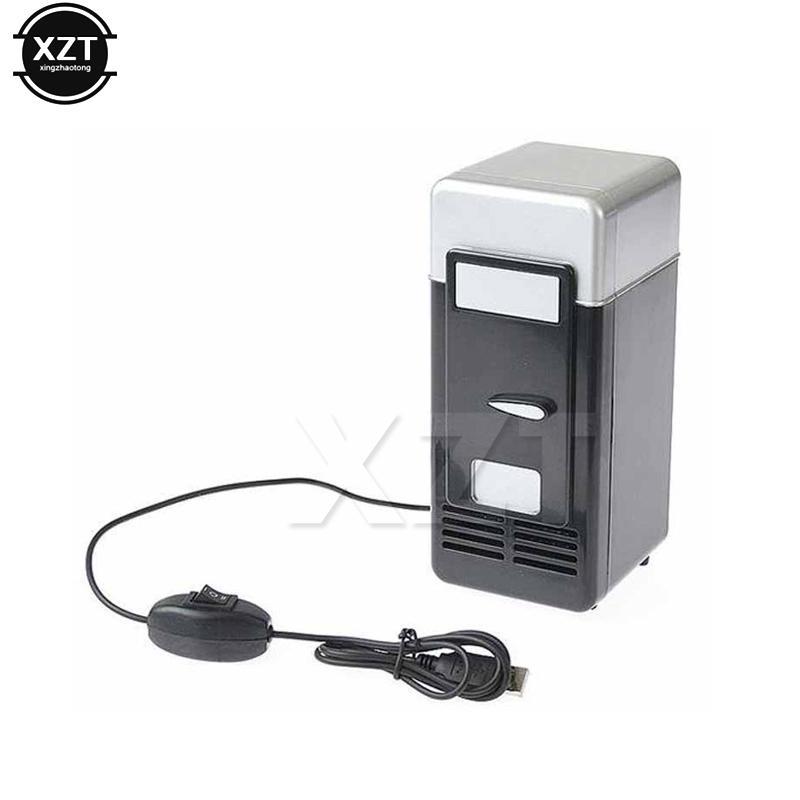 Mini Desktop Usb Fridge Refrigerator Cooler Beverage Drink Cans Warmer Gadget With Led Internal New Black Red Cool Kitchen Gadgets Office