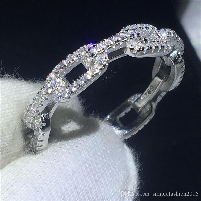 Handmade Chain Shape Promise ring 100% Soild 925 Sterling silver Jewelry 5A Zircon cz Engagement wedding band rings for women