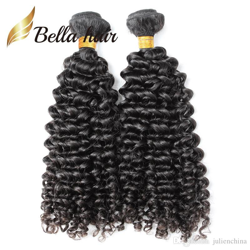 Obehandlad naturlig färg brasilianska lockiga mänskliga hårförlängningar / parti 10-24inch väft Julienchina Bellahair