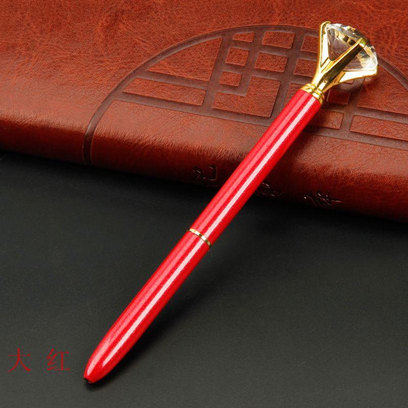 Creative Crystal Glass Kawaii Ballpoint Pen Big Gem Ball Pen With Large Diamond Fashion School Office Supplies 362