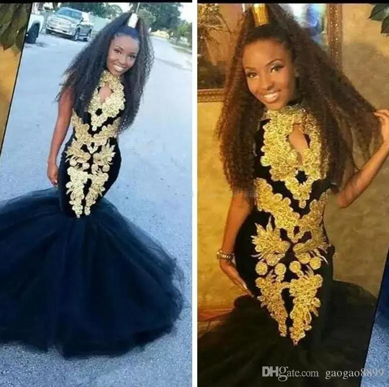 179db3cd4f African Navy blue velvet Mermaid Prom Dresses With Gold Appliques Black  Girls Formal Dresses Evening Wear Girls Pageant Gowns For Teens